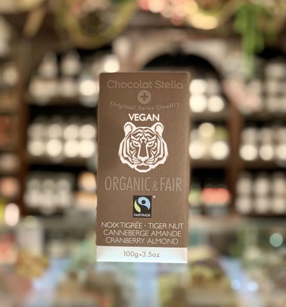 Chocolat Stella - vegane Schokolade mit Tigernuss, Cranberries und caramelisierten Mandeln